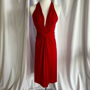 Red convertible tie dress